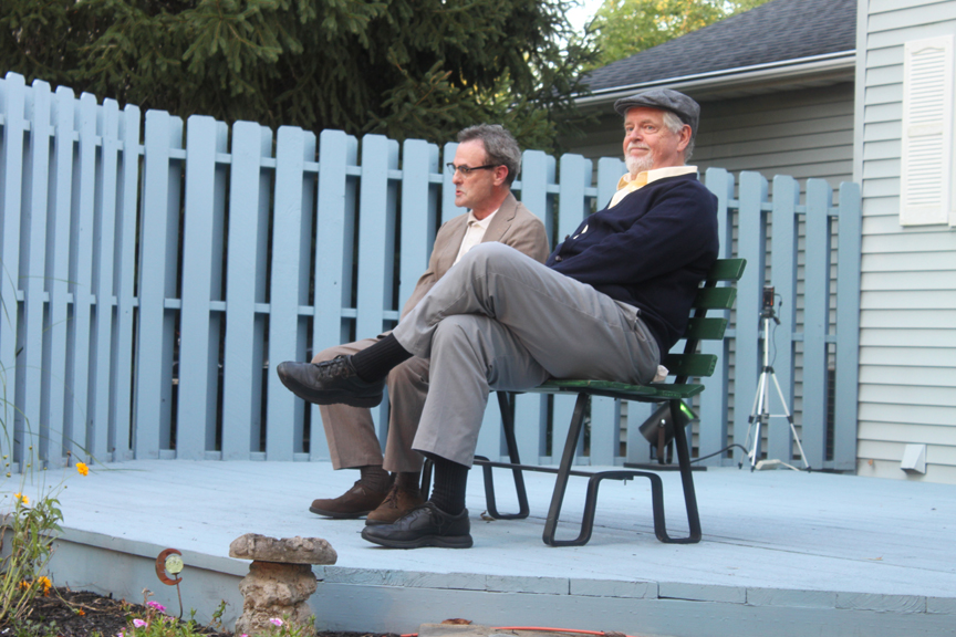 This performance, for a private party in Hilliard, Ohio, was staged on a small outdoor deck. Outdoor performances are not normally recommended for this particular show unless the space is small and somewhat enclosed.