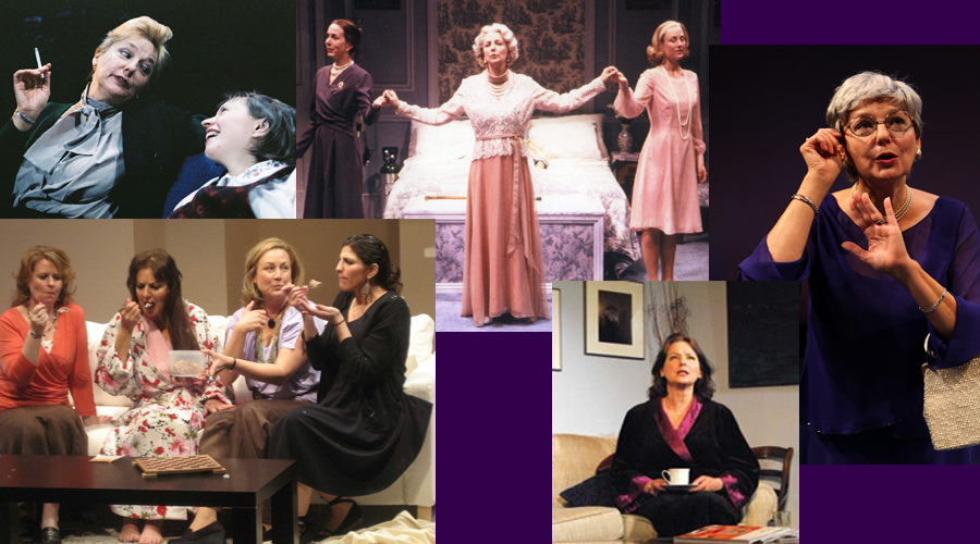 Kerry Shanklin in (clockwise from upper left) KINDERTRANSPORT, THREE TALL WOMEN, MURDERERS, A DELICATE BALANCE and THE CLEAN HOUSE