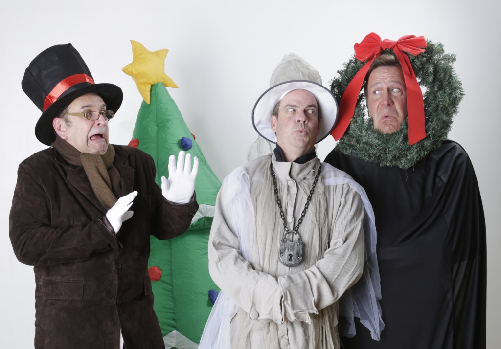APT PR 3 (300 dpi) - Tim Browning as Scrooge, Todd Covert as Marley's Ghost & Ralph Scott as the Ghost of Christmas Present