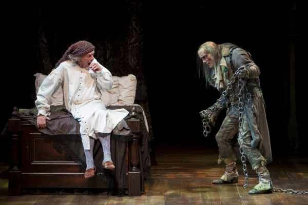 Scrooge is visited by the ghost of his late partner, Jacob Marley
